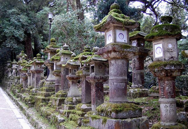 Stone lanterns at Kasuga Grand Shrine in Nara, Japan