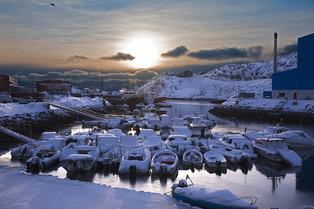 by Petur Bjarni on Flickr.Snow-covered boats in Nuuk - the capital of Greenland.