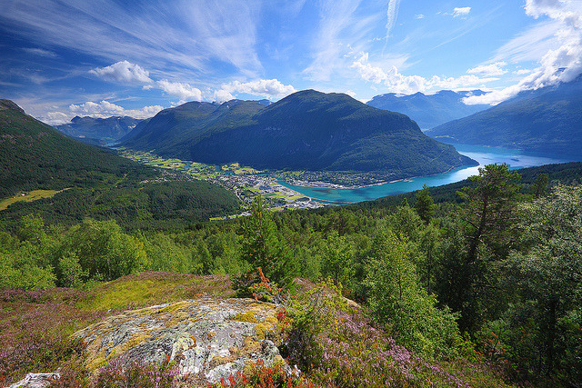 by jensvins on Flickr.Panorama over Stryn valley and Nordfjord - Norway.