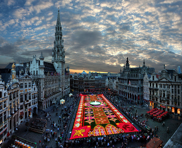 by gbatistini on Flickr.Brussels Grand Place, biggest carpet of flowers in the world, Belgium.
