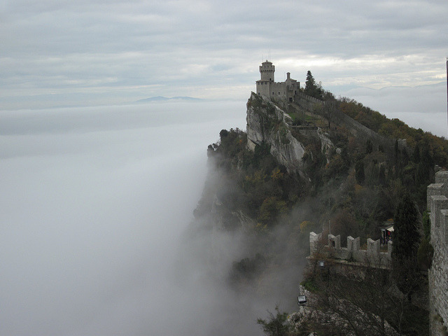 by Strider 4422 on Flickr.Spectacular view towards the castle of San Marino, a small country in the Apennine Mountains.