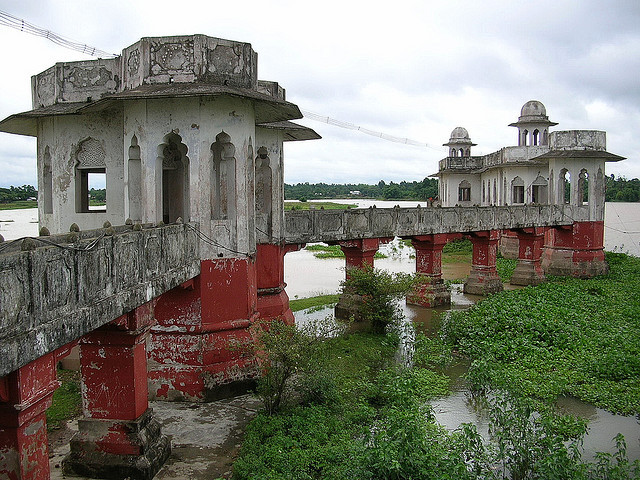 by partha.b on Flickr.The dilapidated palace on the Rudra Sagar lake in Tripura, India.
