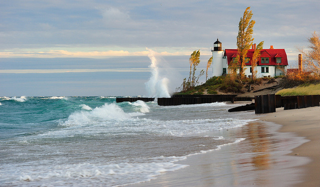 by Michigan Nut on Flickr.Point Betsie Lighthouse at Lake Michigan, United States.