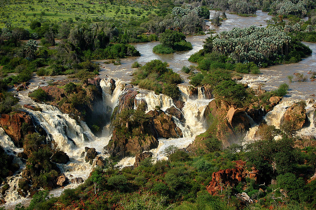 View of the spectacular Epupa Falls in Namibia