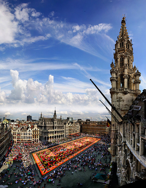 Shadow of the city hall on the carpet flower, Grand Place, Brussels, Belgium