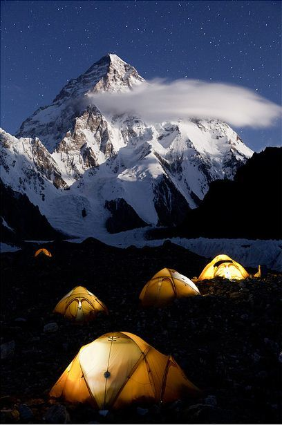 K2 Base Camp in the night, Karakorum Mountains, Pakistan