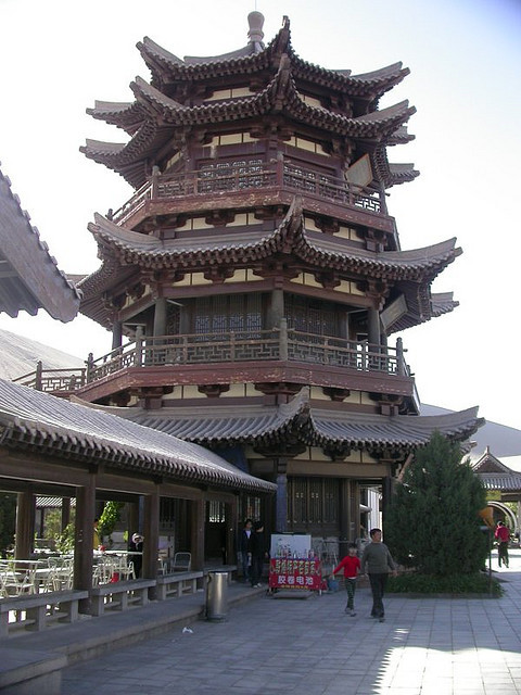 Pagoda at Yueyaquan Oasis, in the middle of Gobi Desert, China