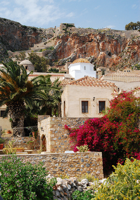 Red and ochre in Monemvassia, Peloponnese, Greece