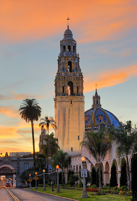 California Tower in Balboa Park at sunset, San Diego, USA