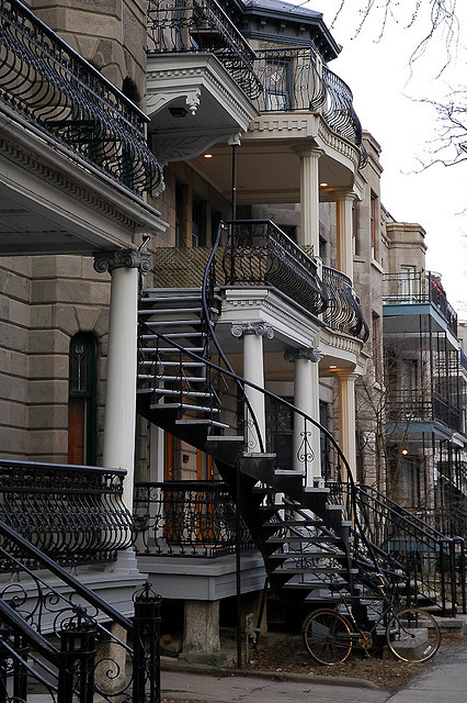 Classic Winding Staircase in Montreal, Canada