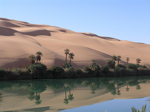 Reflections at Ramlat Dawada Lake in Sahara Desert, Libya