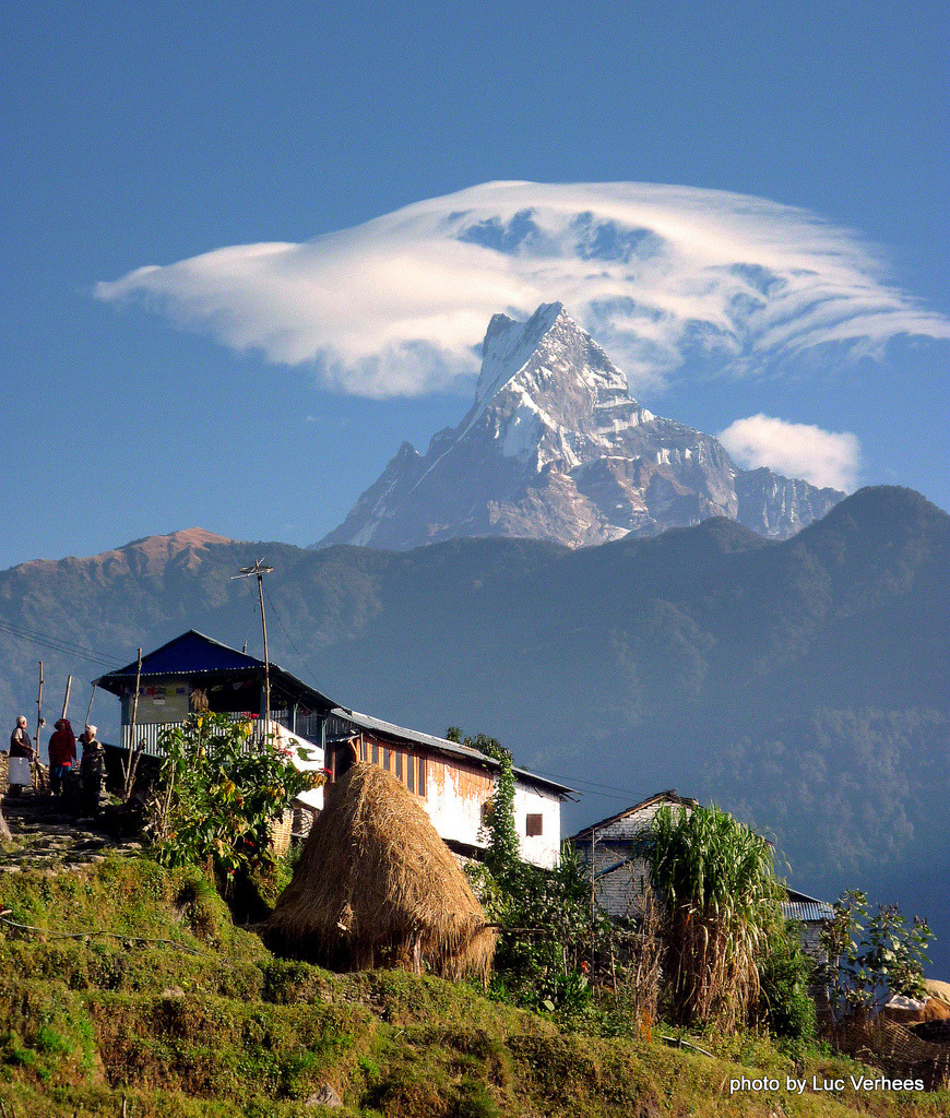 Village view of the holy mountain of Machhapuchhre in Nepal