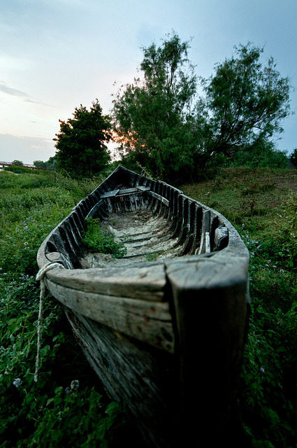 Abandoned boat in The Danube Delta, Romania