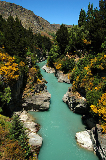 The beautiful turqoise waters of the Shotover River, New Zealand