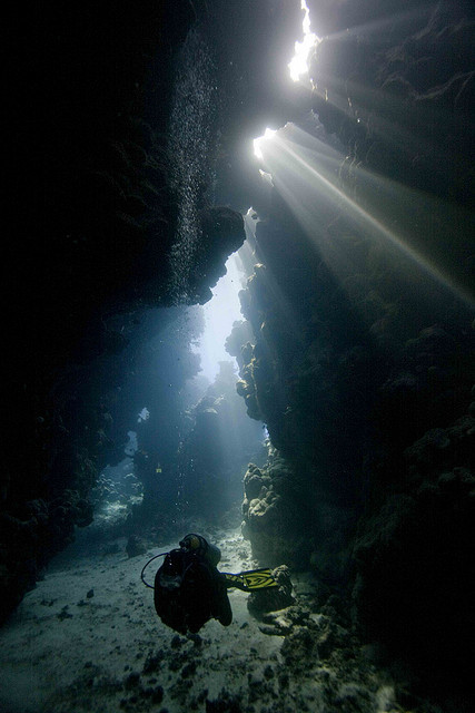 Exploring the underwater caves of the Red Sea, Egypt