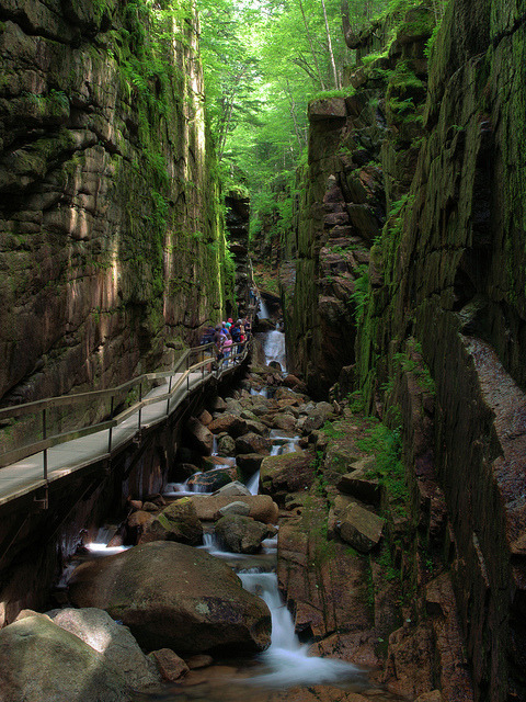Flume hike in Franconia Notch State Park, New Hampshire, USA