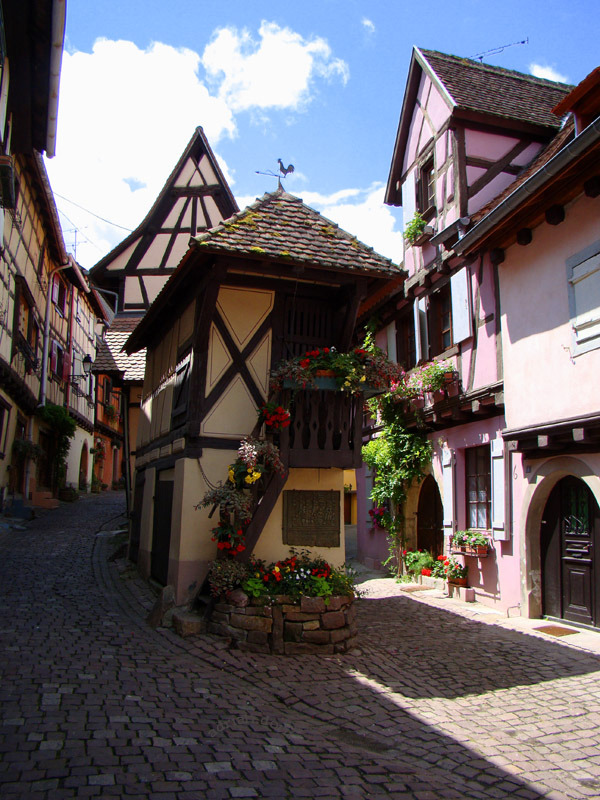 Picturesque streets of Eguisheim in Alsace, France