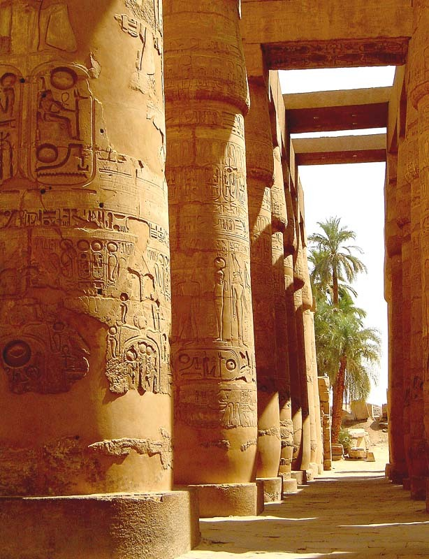 The ancient columns of Karnak Temple near Luxor, Egypt