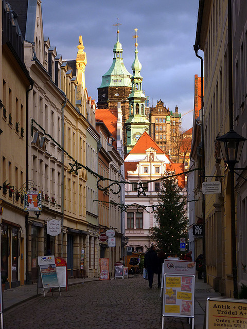 The historical town of Pirna in Saxony, Germany