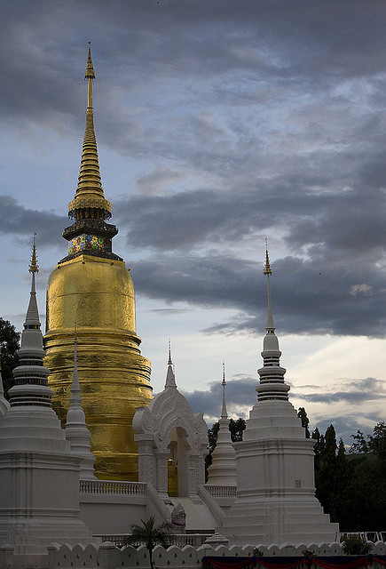 Wat Suan Dok pagodas at sunset in Chiang Mai, Thailand