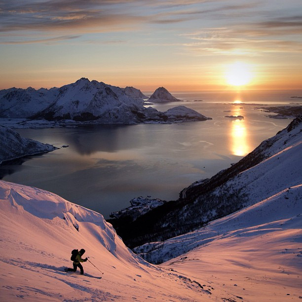 Skiing in the fjords, Vesteralen, Norway