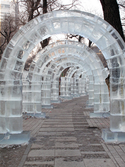 Ice arches in Zhaolin Park, Harbin / China