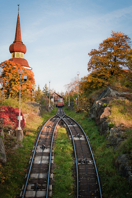 The funicular railway at Skansen Open Air Museum / Sweden